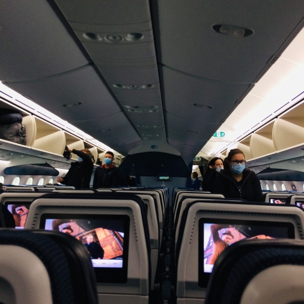 boarding a plane during the pandemic